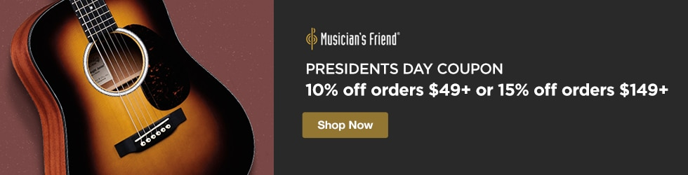 Musician's Friend - Presidents Day Coupon - 10% off orders $49+ or 15% off orders $149+