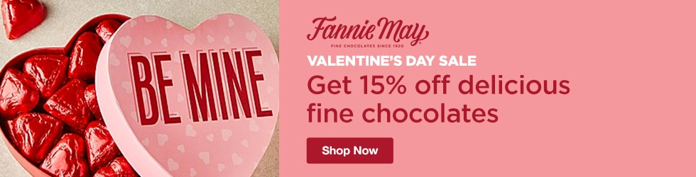 Fannie May Candies - Valentine's Day Sale! Save 15% Off Delicious Fine Chocolates Perfect Gifts