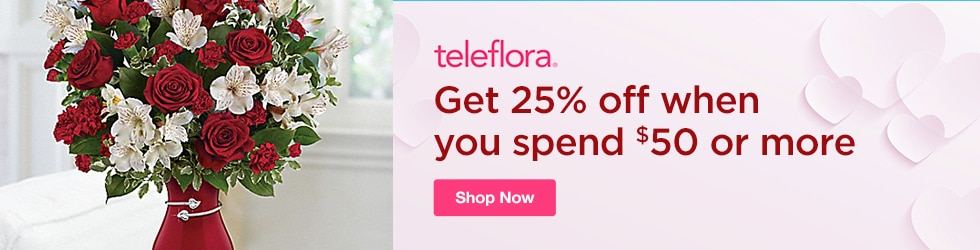 Teleflora Flowers - Save 25% off orders of $50 or more