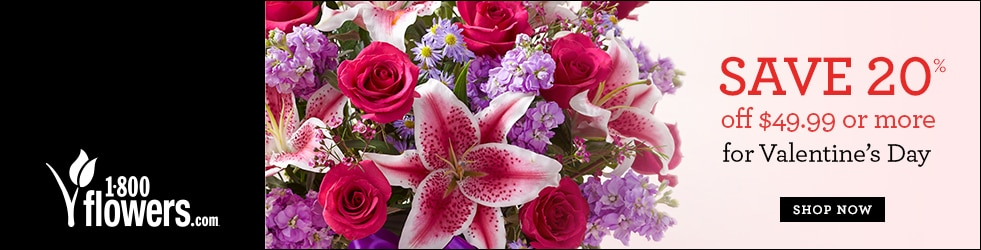 1800Flowers - Save 20% Off Purchases of $49.99 and WOW Your Loved One This Valentine's Day