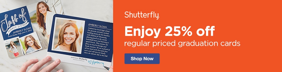 Shutterfly - Enjoy 25% off Regular Priced Graduation Cards