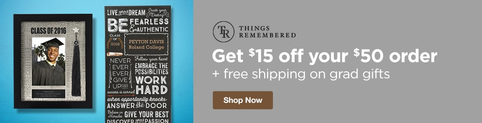Things Remembered - Save $15 Off Your $50 Order + Free Shipping on Grad Gifts