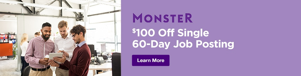 Monster - $100 Off Single 60-Day Job Posting