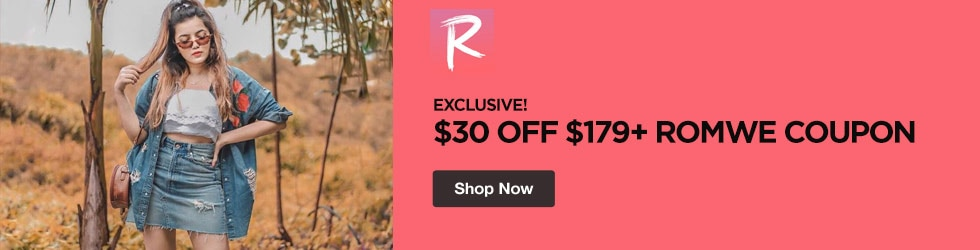 Romwe - Exclusive! $30 Off $179+ Romwe Coupon