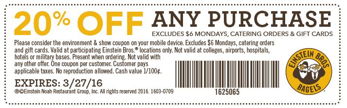 Einstein bagels coupons april 2019