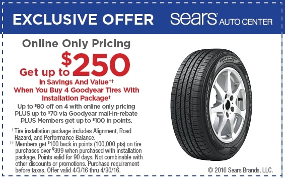 picture relating to Sears Auto Printable Coupons called Sears vehicle coupon code tires / Awesome price tag favors coupon code