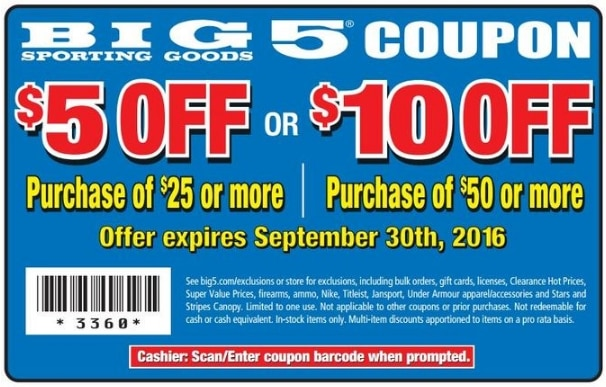 picture regarding Big 5 Coupons Printable named $10 off $50 at Huge 5 Donning Excellent with Printable Coupon