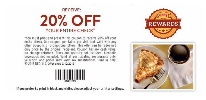 Dennys coupons 20 percent off