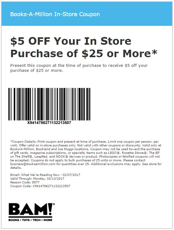 """REDEEM YOUR BOOKS-A-MILLION COUPONS. The Books-A-Million deals are valid for a limited time period and must be used before they expire. Here is how you can redeem them. Click on the deal button that reads """"Get Coupon and Open Site"""". Copy the discount code displayed and proceed to ."""