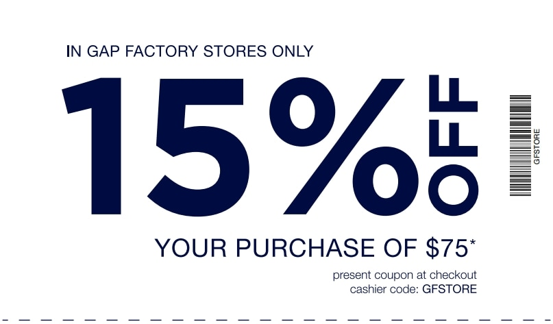 photo about Gap Factory Printable Coupon called 15% off at Hole Manufacturing facility Outlet Shops with Printable Coupon