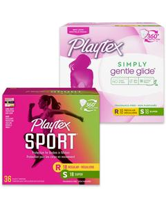 Playtex® Sport®, Simply Gentle Glide®, o.b.® Tampons