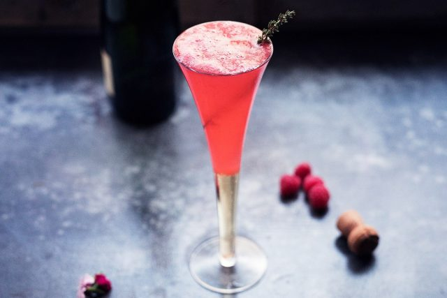 How to Make a Layered Raspberry Champagne Cocktail (Video)