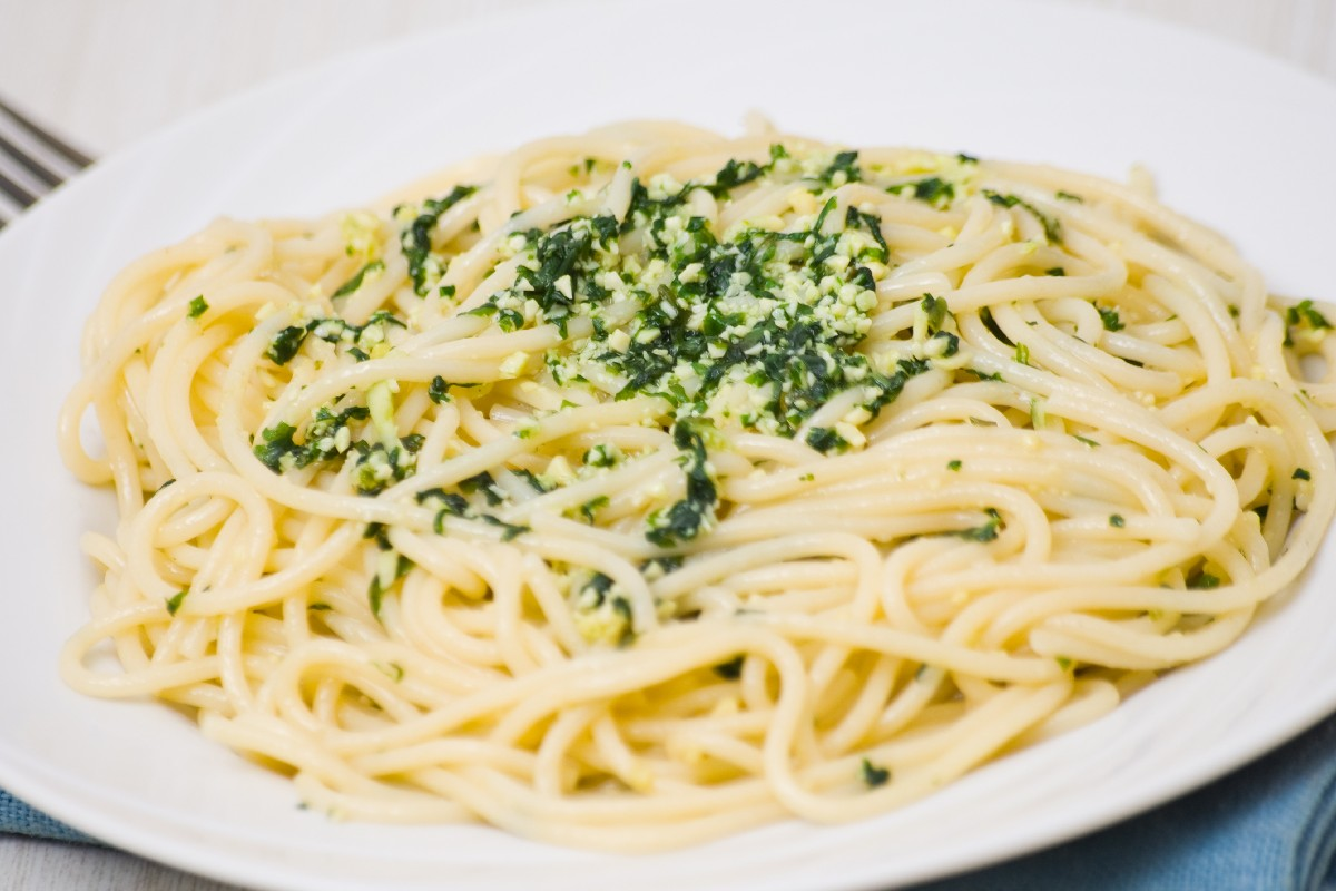 Angel Hair Pasta With Green Garlic Cream Sauce Recipe ...
