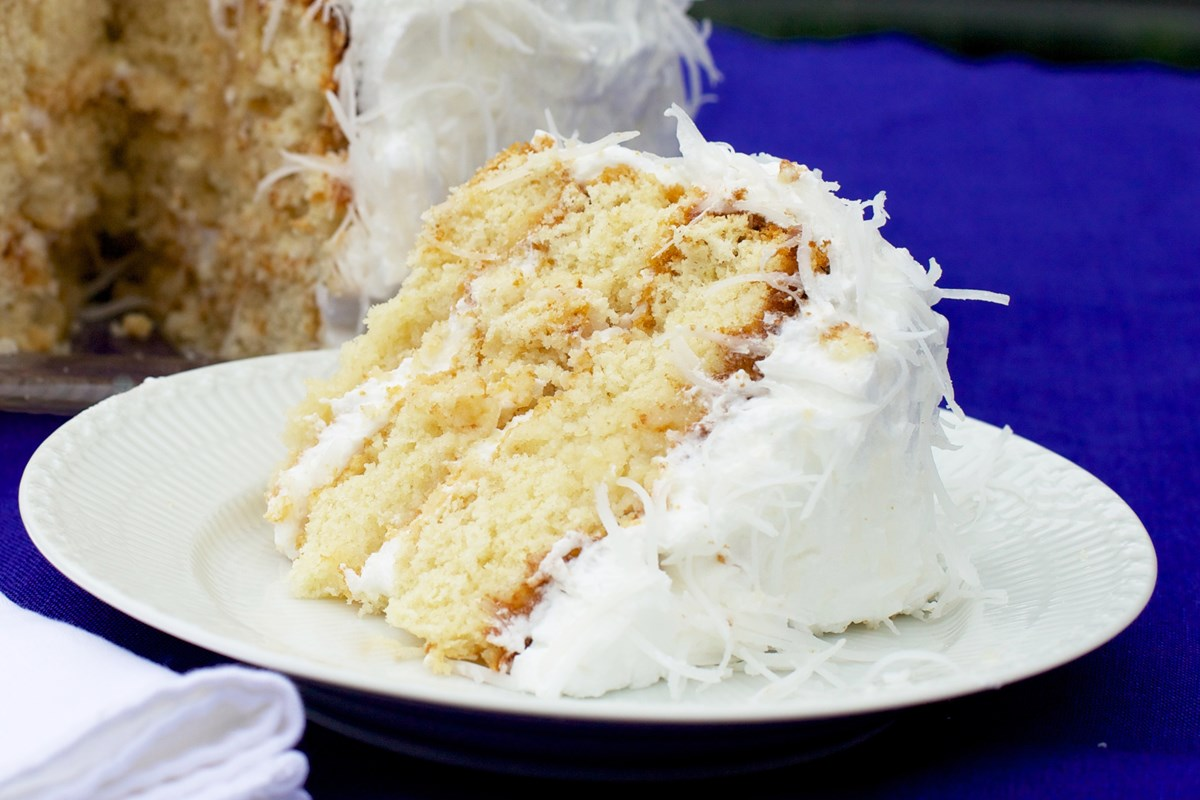 Lemon Cake With Frosting And Coconut