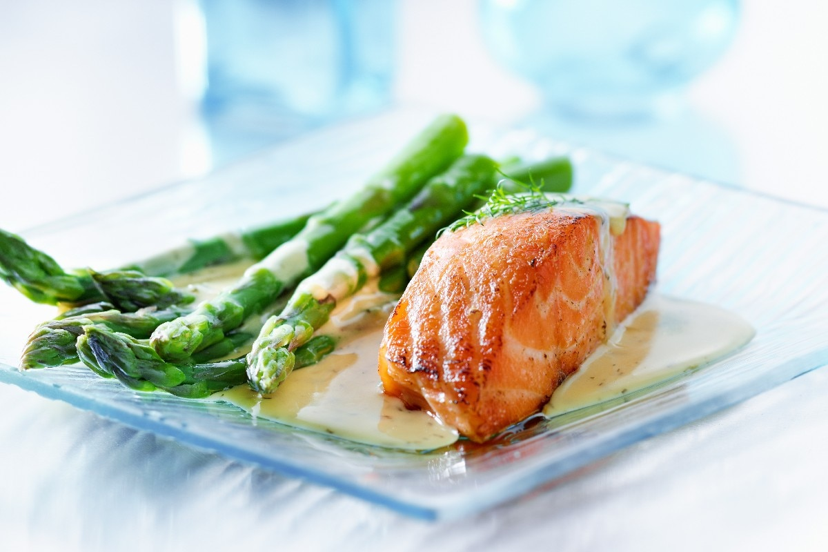 11. Roasted Salmon and Asparagus with Balsamic Butter