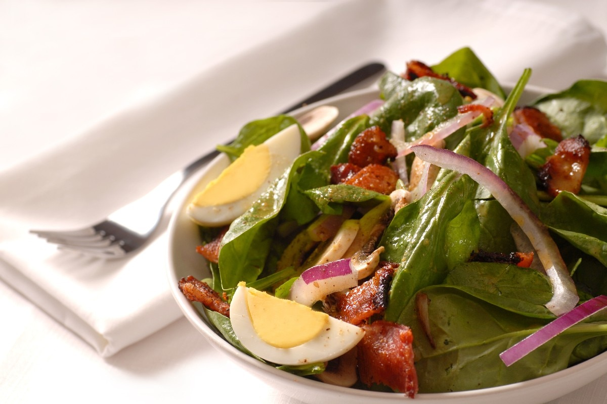 Spinach Salad with Warm Bacon Dressing - KitchMe