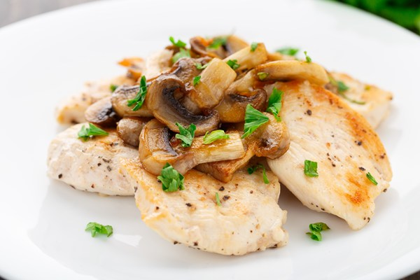 Baked Lemon Chicken with Mushroom Sauce | KitchMe