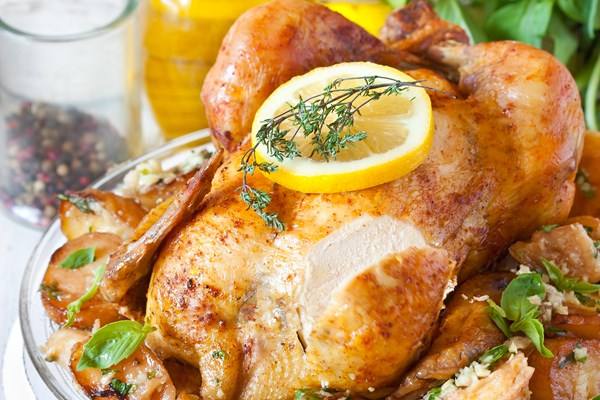 Lemon And Garlic Roast Chicken Kitchme