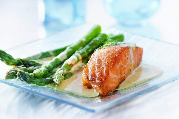 Roasted Salmon and Asparagus with Balsamic-Butter Sauce ...