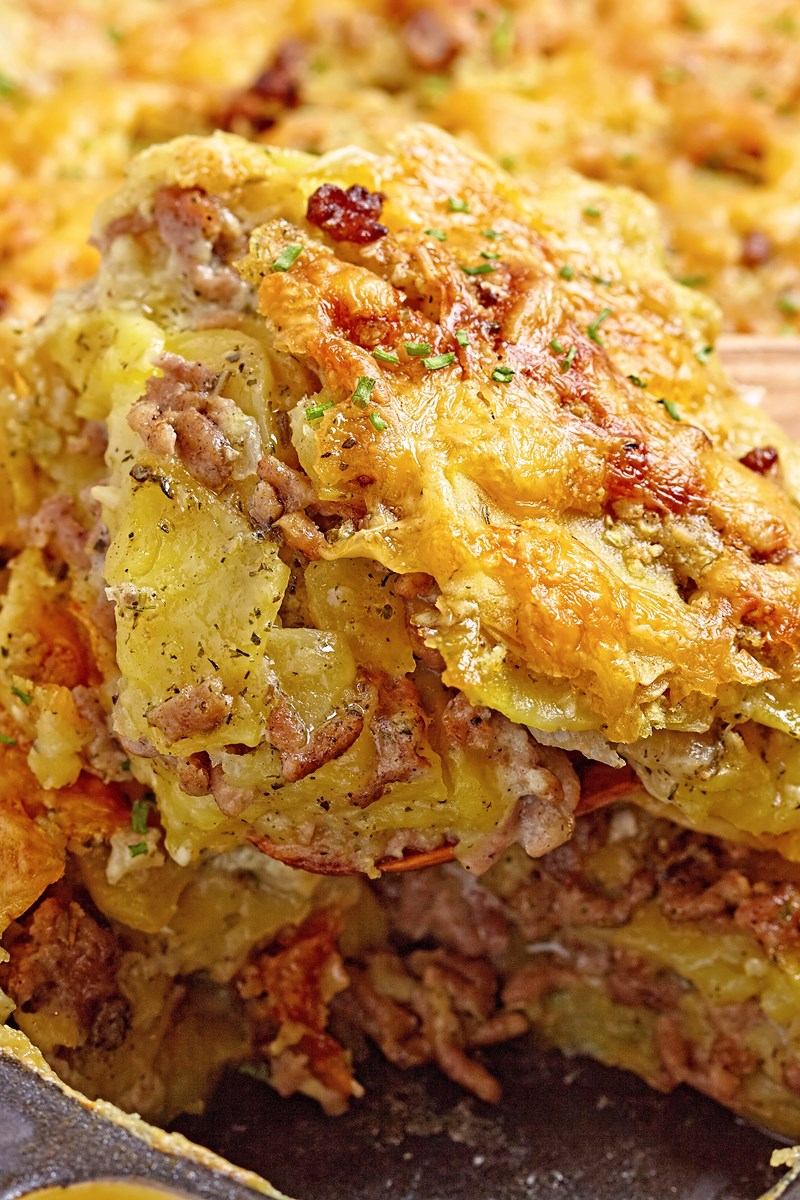 Cheesy ground beef and potato casserole kitchme - Potatoes choose depending food want prepare ...