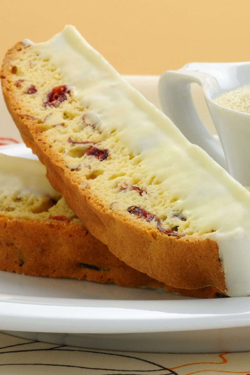 Cranberry Pistachio Biscotti Dipped in White Chocolate | KitchMe