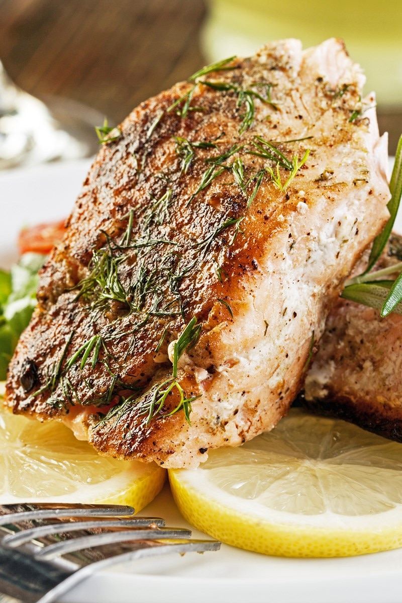 Salmon With Thyme Butter Recipe — Dishmaps