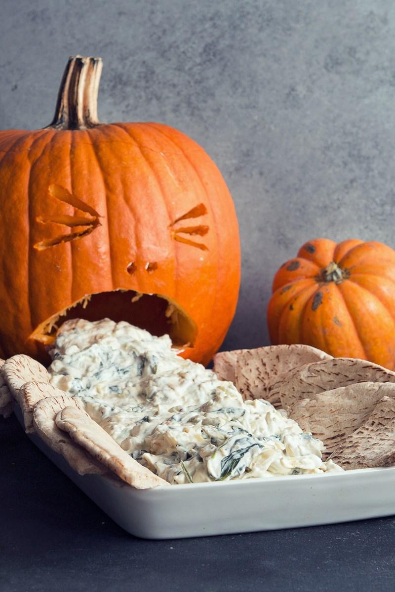 spinach and artichoke dip puking pumpkin