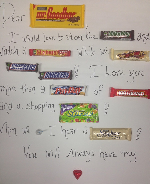 Adorable Homemade Valentine card idea Candy Bar Poem  thegoodstuff