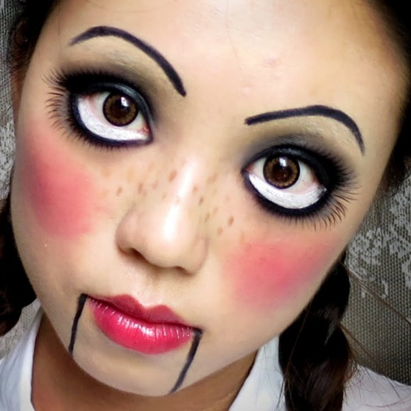 How to Do Creepy Doll Halloween Makeup. While the candy corn makeup keeps on being a Halloween classic, sometimes you want to be bolder and more frightening. If you want to combine the girly with the scary, the creepy doll Halloween makeup is right for you!