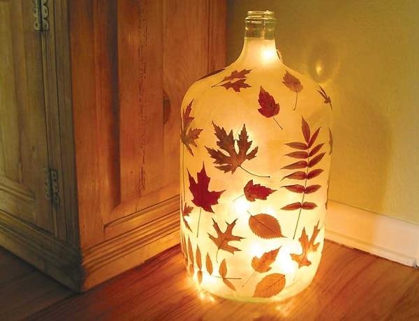 Glowing Leaf Jar