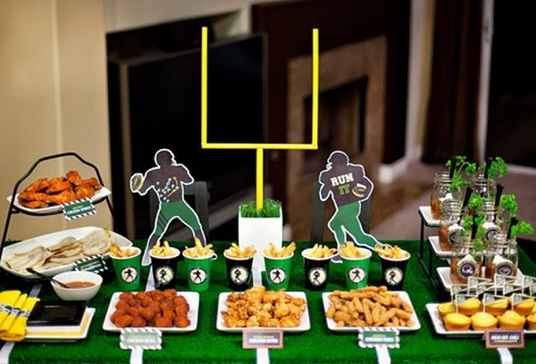 Diy football decorations for a tailgate tablescape