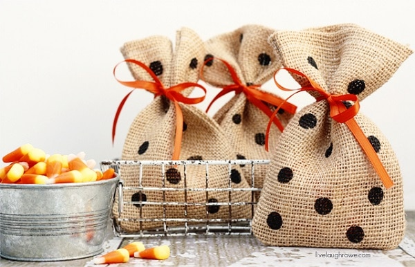 Polka Dot Linen Treat Bags