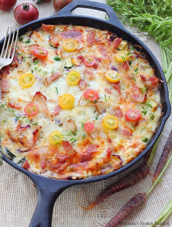 Vegetable and Bacon Egg Bake Skillet