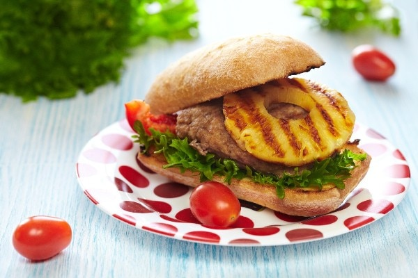 ... pork burgers with bits of apple mixed into the meat. The apple softens