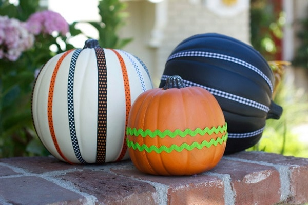 riboon covered pumpkins