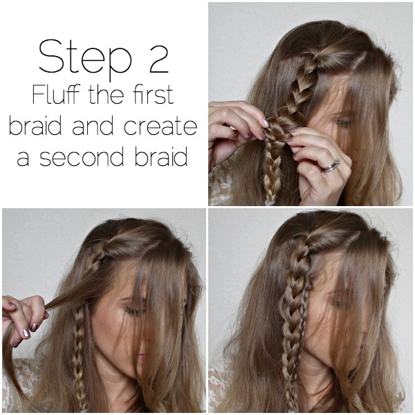 romantic side swept braid step-two