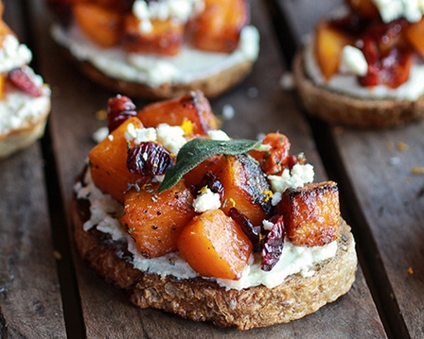 Caramelized Butternut Squash and Gorgonzola Cheese Crostini