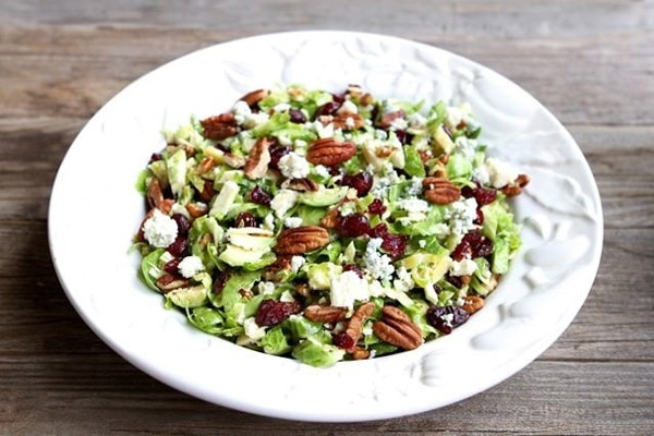 Chopped Brussels Sprouts with Cranberries, Pecans, & Blue Cheese