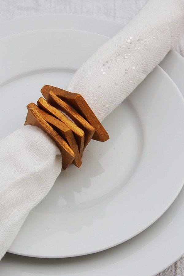 Golden Square Napkin Rings