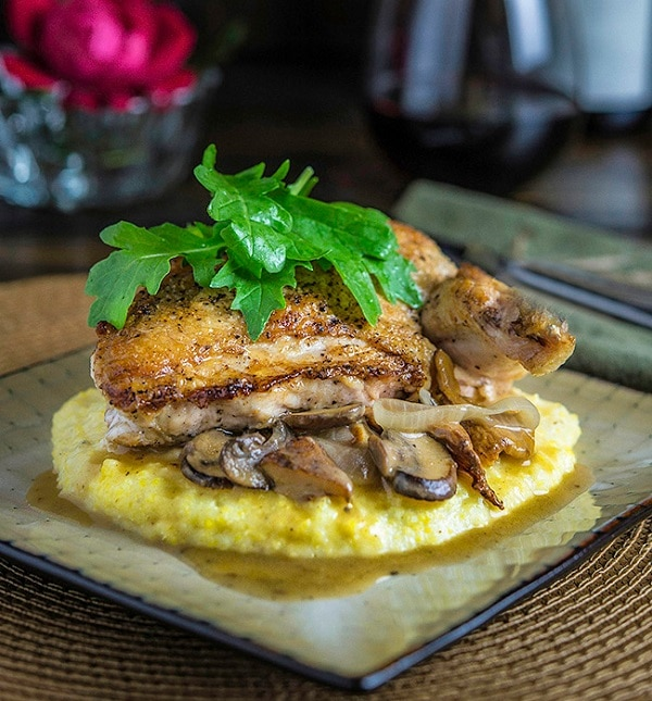 Pan-Seared Chicken with Parmesan Grits