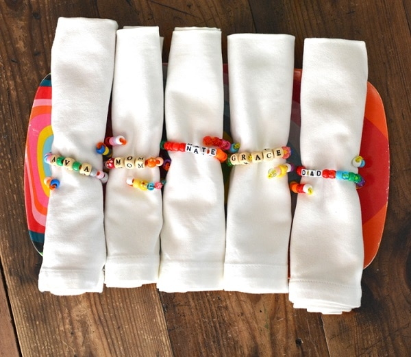 Pony Bead Napkin Bands