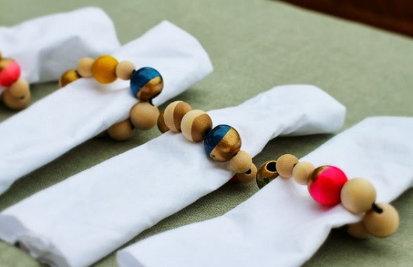 Wooden Bead Napkin Bands