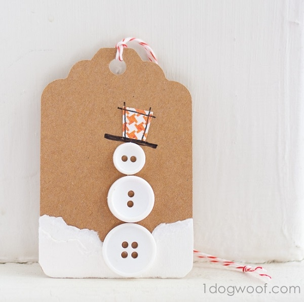 Button Gift Tag Snowman