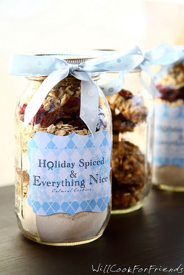 Oatmeal Cranberry Walnut Cookies in a Jar