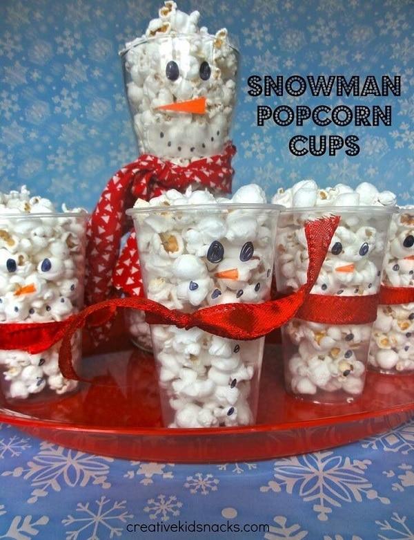 Snowman Popcorn Cups