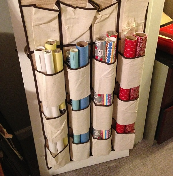Stick Wrapping Paper in Shoe Rack