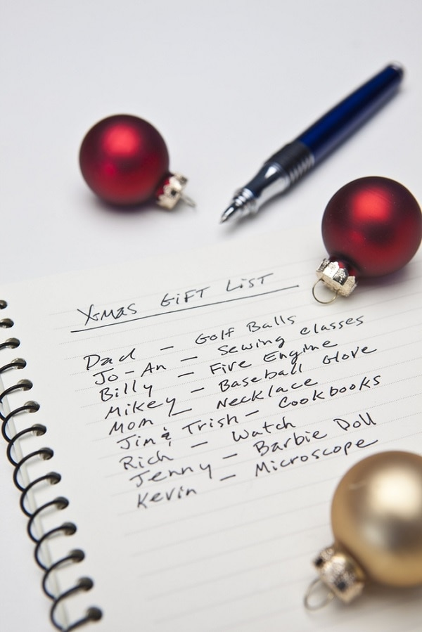 holiday shopping list
