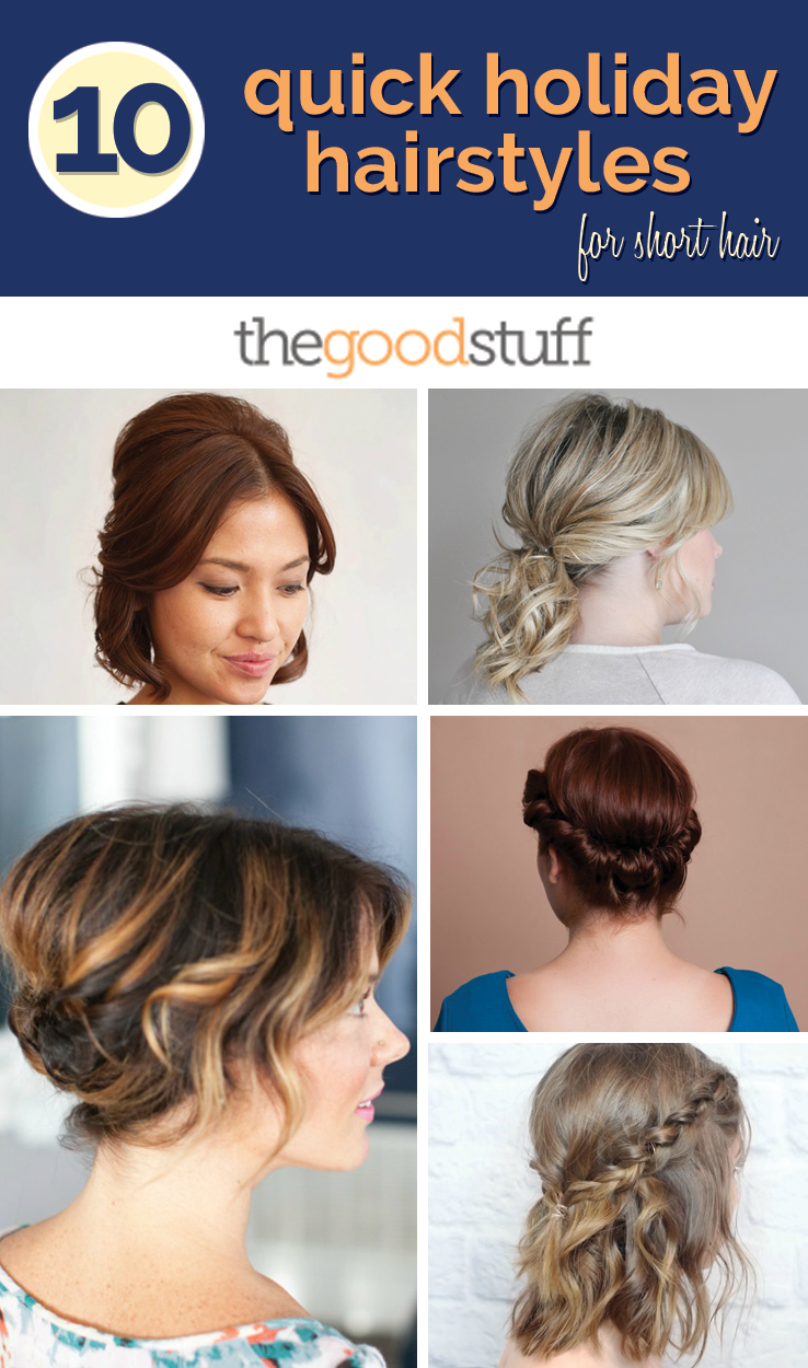 Groovy 10 Quick Holiday Hairstyles For Short Hair Thegoodstuff Short Hairstyles Gunalazisus