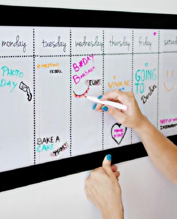 Dry Eraser Board Weekly Calendar