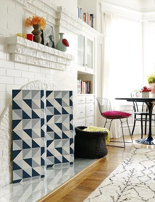 Graphic Fireplace Screen